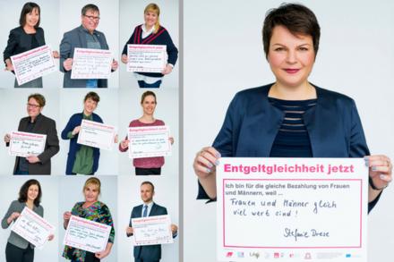 """Ministerin Stefanie Drese beteiligt sich an der Fotoaktion """"Mein Standpunkt zur gleichen Bezahlung von Frauen und Männern""""."""