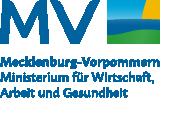"""Logo """"MV tut gut"""" mit der Unterzeile """"Ministerium für Wirtschaft, Arbeit und Gesundheit"""" (Aktuelle Seite: Startseite des Ministeriums für Wirtschaft, Arbeit und Gesundheit)"""