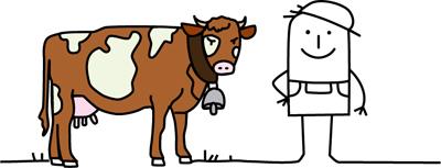 Zeichentrickmännchen mit Kuh