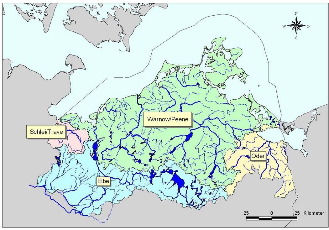Karte der Flussgebietseinheiten in Mecklenburg-Vorpommern<p>© LUNG ?</p>