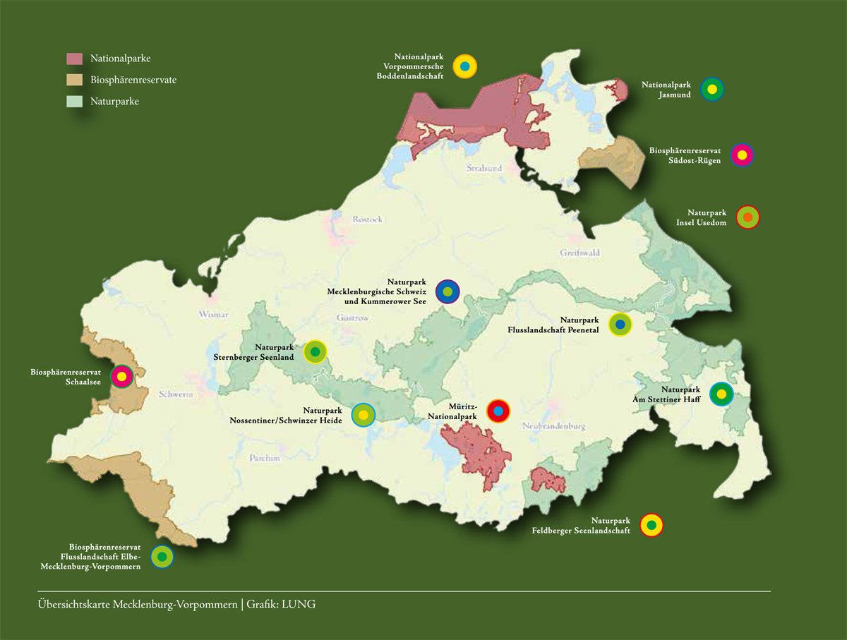 Karte der Nationalen Naturlandschaften M-V Grafik: LUNG / Layout: Produktionsbüro TINUS
