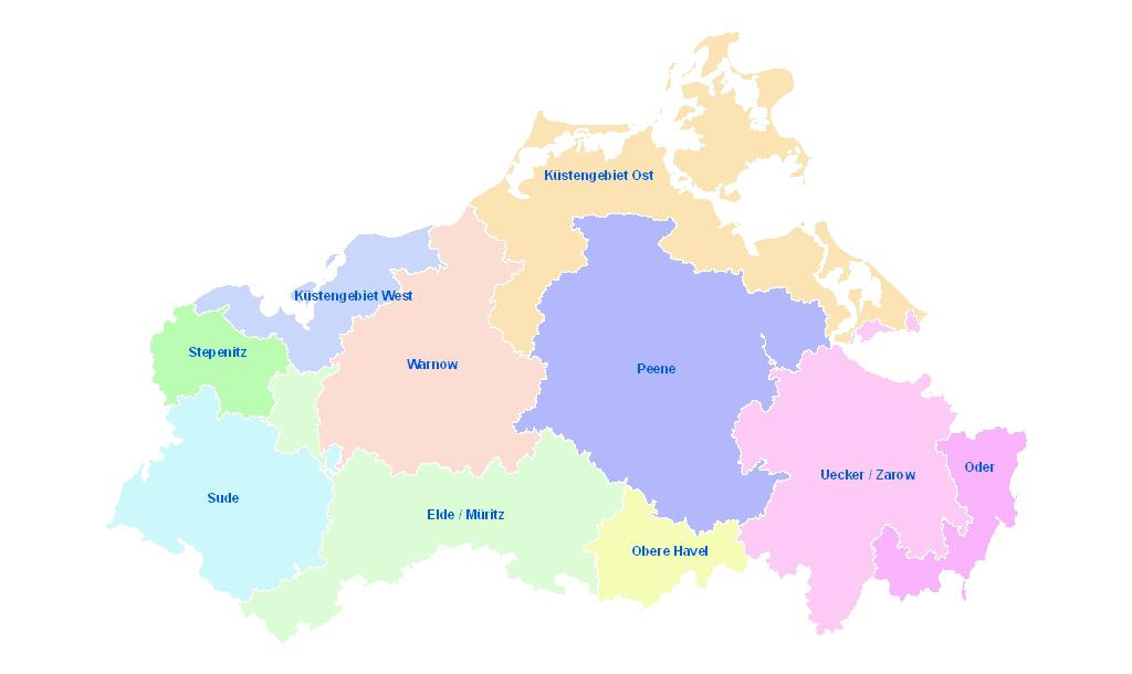 Bearbeitungsgebiete der Umsetzung der WasserrahmenrichtlinieQuelle: LUNG?