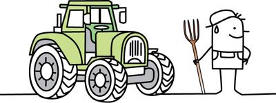 Zeichentrickmännchen neben Traktor