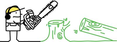 Zeichentrickmännchen mit Kettensäge und gefälltem Baum