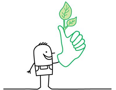 Zeichentrickmännchen mit grünem Daumen