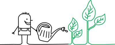 Zeichentrickmänchen mit Gießkanne und Pflanzen