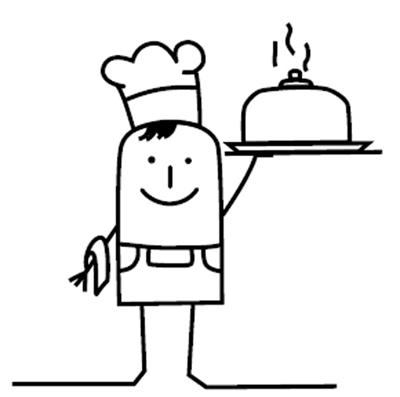 Zeichentrickmännchen mit Serviertablett
