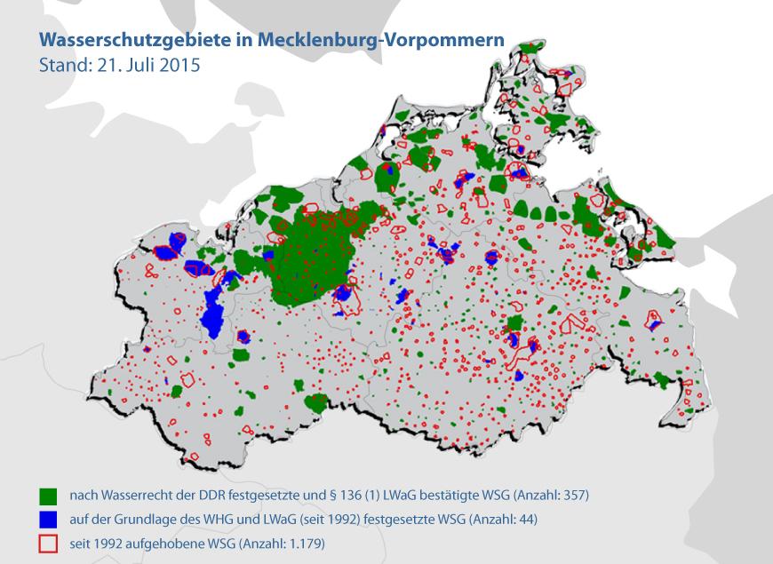 Karte Wasserschutzgebiete in Mecklenburg-Vorpommern<p>Grafik: PLANET IC</p>