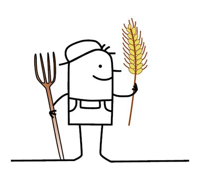 Zeichentrickmännchen mit Forke und Getreideähre