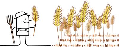 Zeichentrickmännchen mit Forke und Getreideähre neben einem Getreidefeld