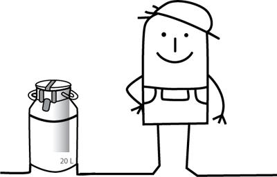 Zeichentrickmännchen mit Milchkanne