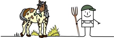 Zeichentrickmännchen mit Mistgabel und Pferd