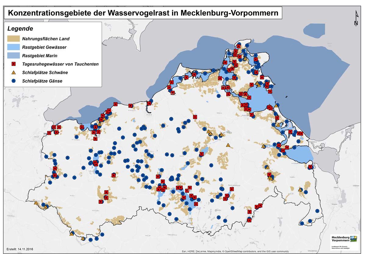 Karte mit Rastplätzen von Wildvögeln