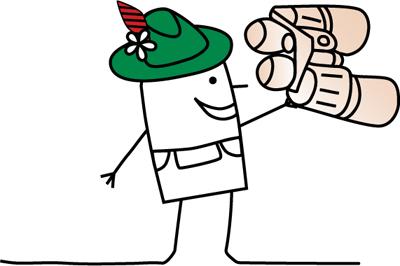Zeichentrickmännchen mit grüner Filzmütze und Fernglas