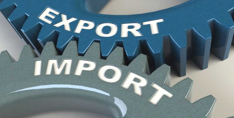 "Two cog wheels showing export and import working together  (Interner Link: mehr zum Thema ""Außenwirtschaft"" auf der Themenseite)"