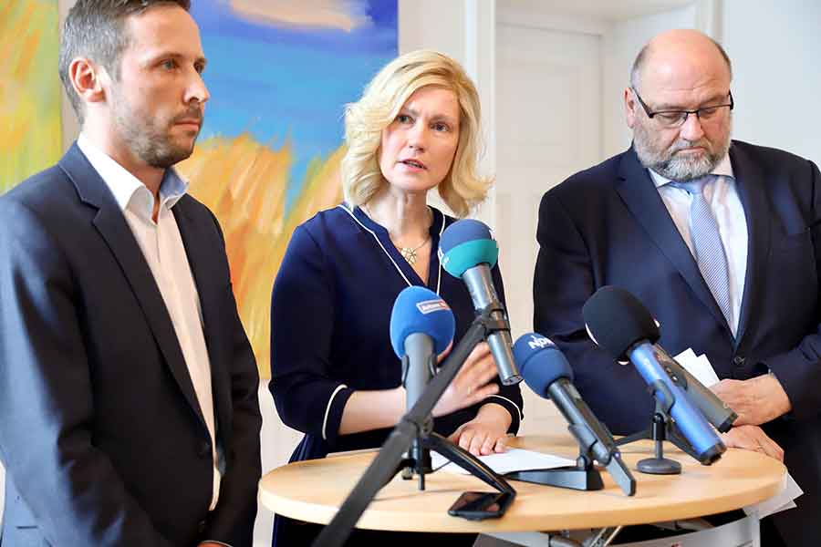 Pressekonferenz mit Ministerpräsidentin Manuela Schwesig, Wirtschaftsminister Harry Glawe und Tobias Woitendorf, Geschäftsführer des Landestourismusverbandes MV